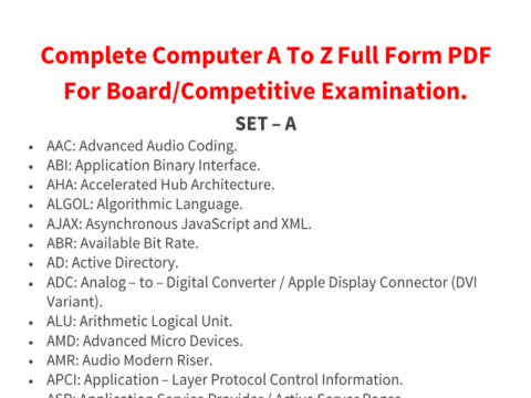 Computer Full Form A To Z Computer Full Form In Hindi