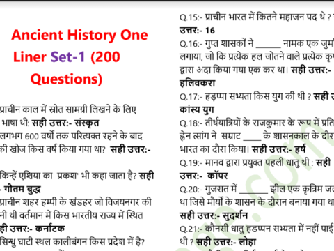 Ancient Indian History Questions and Answers in Hindi PDF