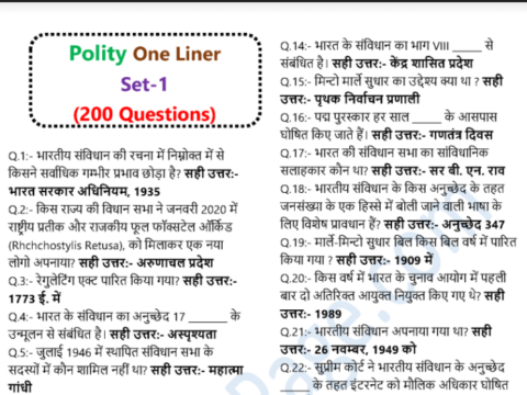 Indian Polity Questions And Answers PDF Download In Hindi