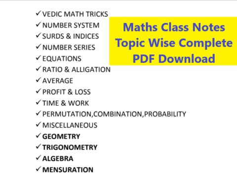 Maths Class Notes Topic Wise (Complete PDF)