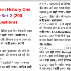 Modern Indian History One Liner Questions PDF